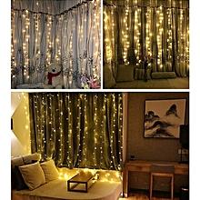 KWB LED Window Curtain Icicle Lights 300 LED String Fairy Lights 118.11 x 118.11 Inch 8 Modes White Christmas / Thanksgiving / Wedding / Party Backdrops WARM WHITE LIGHT 110V US PLUG