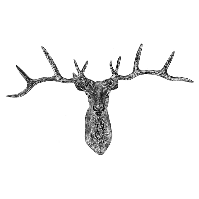 Silver Stag Wall Art Animal Head Large Mounted Deer