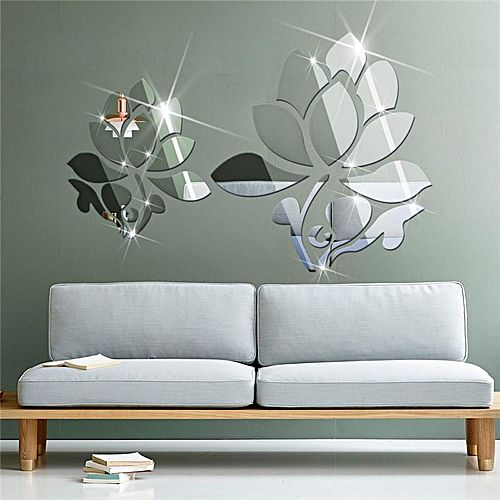 Beau Lotus 3D Mirror Wall Stickers For Wall Decoration DIY Home Decor Living  Room Wall Decal