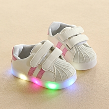 Baby unisex LED shining shell two whippletree sneaker pink