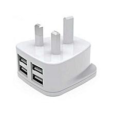 4-Port USB Travel Charger - White