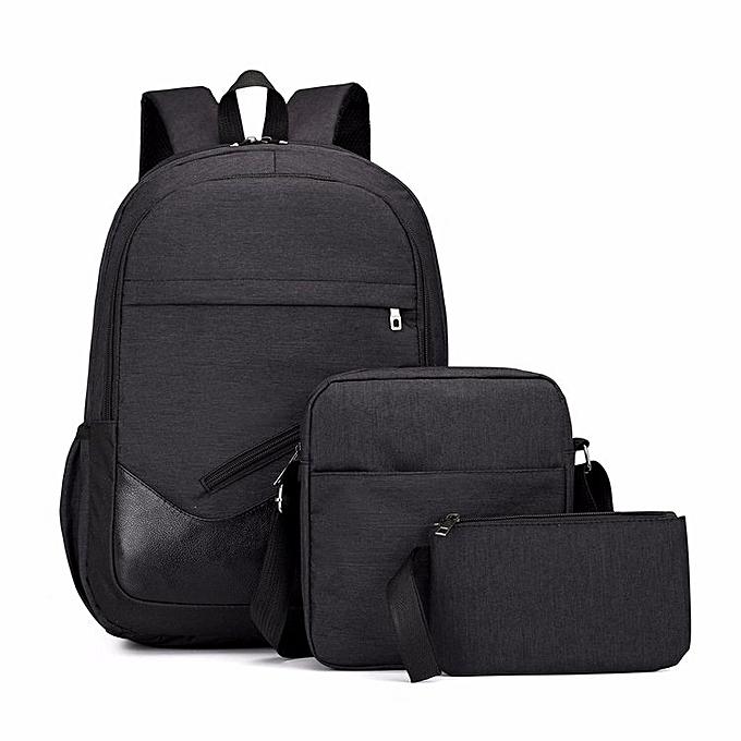 Multi-Function Oxford Portable Casual Double Shoulders School Bag Travel  Backpack Bag (Black) fb3955ac5842b