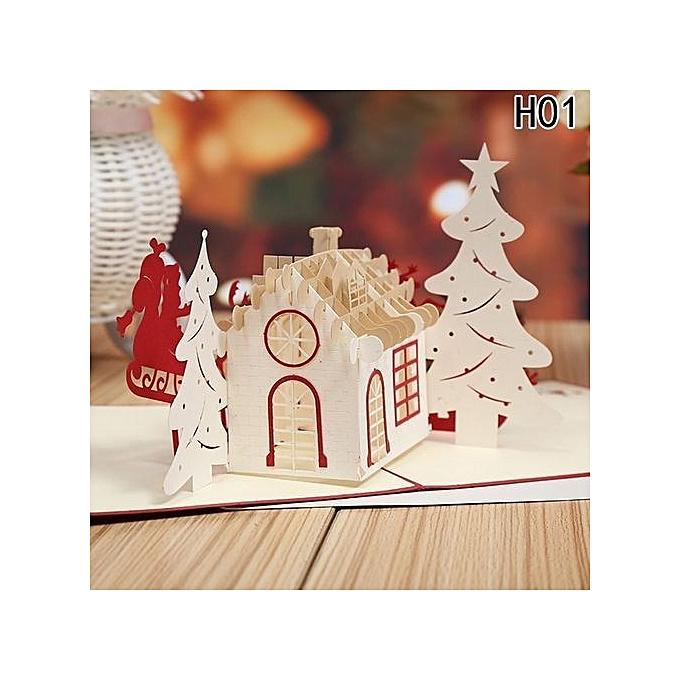 Buy universal tanson 3d merry christmas santa claus tree greeting tanson 3d merry christmas santa claus tree greeting cards postcards birthday gift message card thanksgiving card m4hsunfo