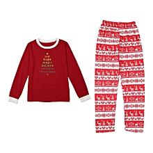 UJ Red Christmas Pajamas Suit Parent-child Outfit Elegant Printing Sleepwear
