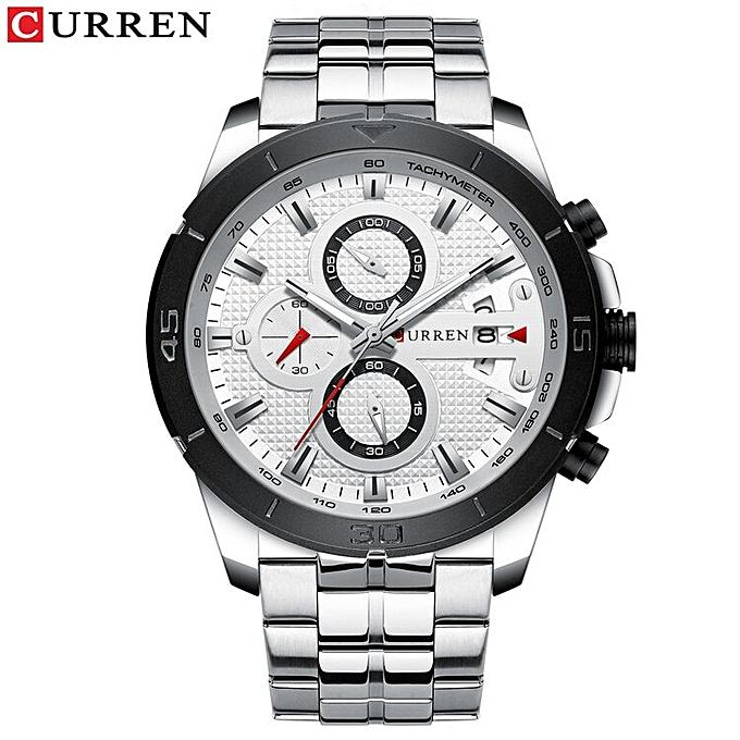 8329 Men's Wrist Watches Black Military Quartz Wristwatches Big Hand Watch  For Men Steel Clock Wholesale New(silver white)
