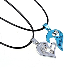 bluerdream-Two In One I Love You Heart Pendant Necklace Lovers Couples Gift -Blue