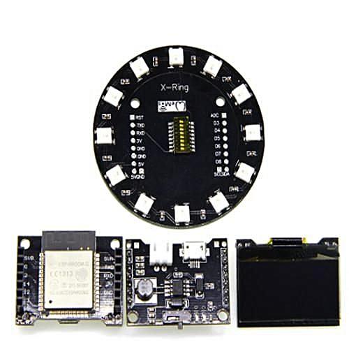 X-8266 Lolin ESP32 Rev1 WiFi Bluetooth Module+ X-Battery Shield +1 3 inch  OLED+X-Ring RGB WS2812b