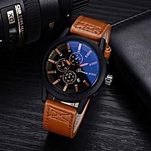 Olivaren GONEWA Men Quartz Analog Leather Strap 3ATM Date Sport Wristwatch GiftCoffee