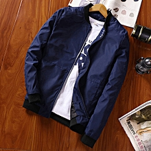 Refined Men's Baseball Collar Pure Four Button Coat Youth Pilot Jacket Slim Large Size Casual Fashion Jacket-blue