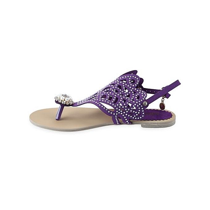 454281e93 ... Flip-flop Flat Sandals For Women Rome Rhinestone Design Shoes-PURPLE ...