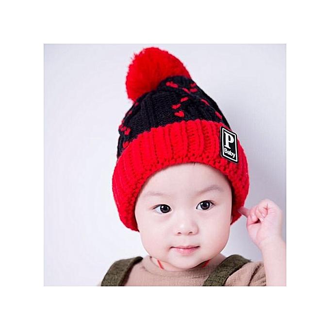 eda25011c7d Braveayong Winter Warm Child Toddler Hairball Cap Boy Girl Knit Beanie Hat  Crochet RD -Red ...