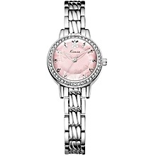 Pink Dial Silver Straps Watch + Free Gift Box