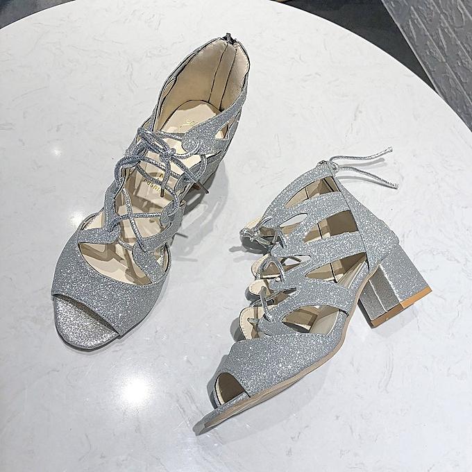 29fdec86bc29 ... Yingwaias Fashion Women Ladies Bling Sandals Square Heels Party Peep  Toe Casual Shoes-Silver Yingwaias Fashion ...