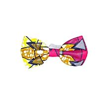 Pink/Beige White Band Bowtie