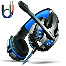 Gaming Headset PS4, AOSO G9000 LED Light Gaming Headphone Stereo Noise Cancelling For PS4 PC Laptop Xbox One With Mic & Volume Control And 3.5mm Audio Splitter Cable