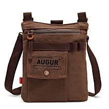 AUGUR Men Multifunctional Canvas Shoulder Crossbody Bag Genuine Lether Casual Messenger Bag
