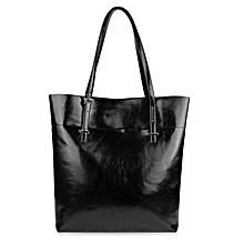 Women Pure Color Shopper Bag - Black