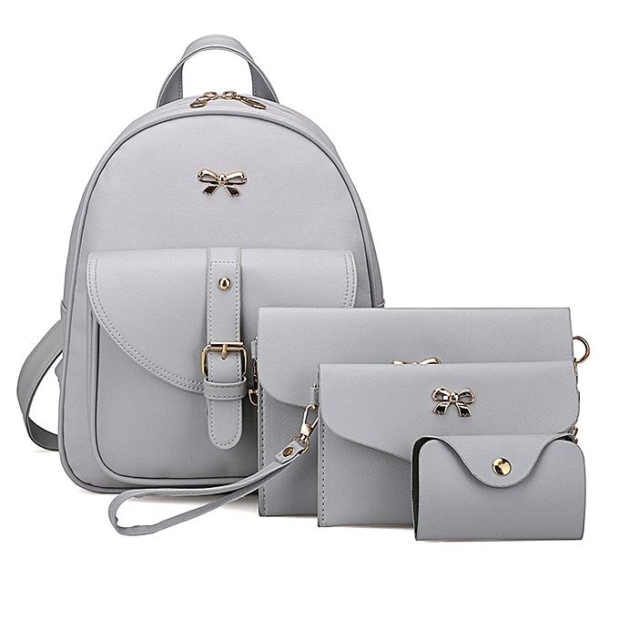 Hiamok 4 Sets Women Girl Travel Backpack School Bag Shoulder Bag Handbag GY