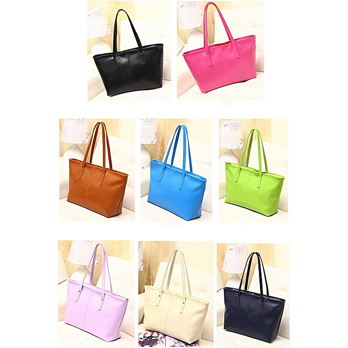 3161e620dcdb Leadsmart New Fashion Women PU Leather Handbag Candy Color Tote Shoulder  Bag Black