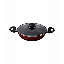 21498-T - Classique Covered Kadai Wok with 2 Handles and Aluminium Lid - 26cm - Red