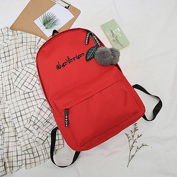 huskspo Unisex Preppy Shoulder Solid Bookbags School Travel Backpack Bag 5925c45405771