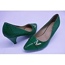 Green Ladies Pointed Cobra Skin Heel Shoes