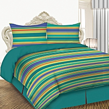 4 Piece Comforter Set - Queen Size - Green Stripes