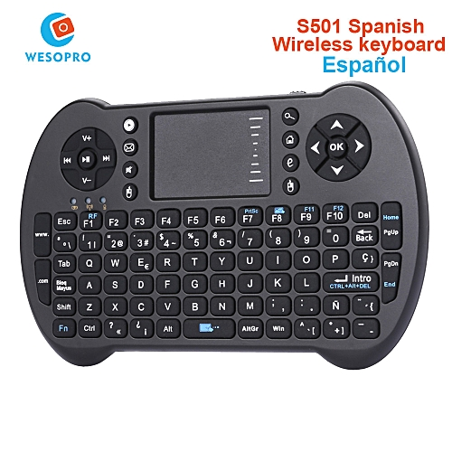 English Russian Spanish Mini Keyboard Air Mouse Remote Control with  Touchpad for Android TV Box Notebook Tablet MiniPC QLANA