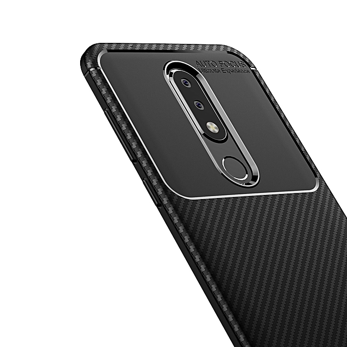 promo code 19dff 0319f Nokia 6.1 PLus/Nokia X6 Silicone Case TPU Carbon Fiber Pattern Phone Back  Cover - Black