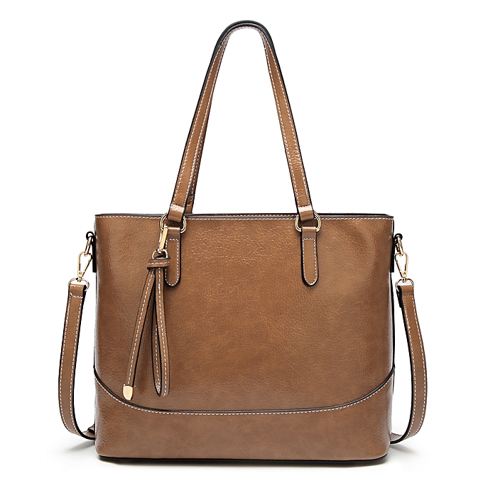 478ad17a721a Fashion French simple retro tote bag for ladies oil wax leather waterproof  casual shoulder bag