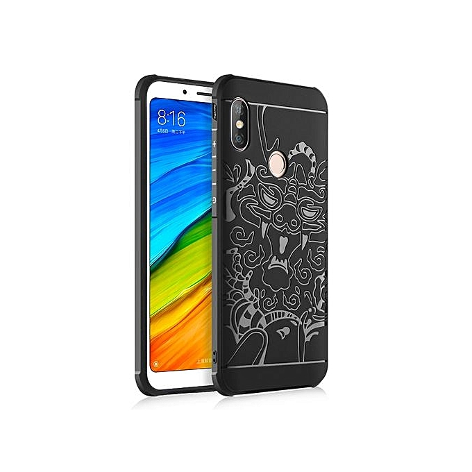 buy popular 4cf4f 34b2b Xiaomi Redmi Note 5 Pro Silicon Case 3d Carved Matte TPU Anti-knock Phone  Back Cover - Black