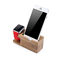 Bamboo Charging Docking Station Stand Holder For Apple Watch / IPhone - Brown