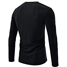 bluerdream-Men Shirt Fashion Solid Color Male Casual Long Sleeve Shirt BK/L- Black