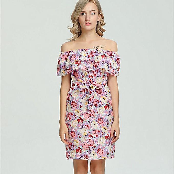 6e4d4cc49f2 Women Plus Size Strapless Slash Neck Striped Print Beach Party Casual Dress
