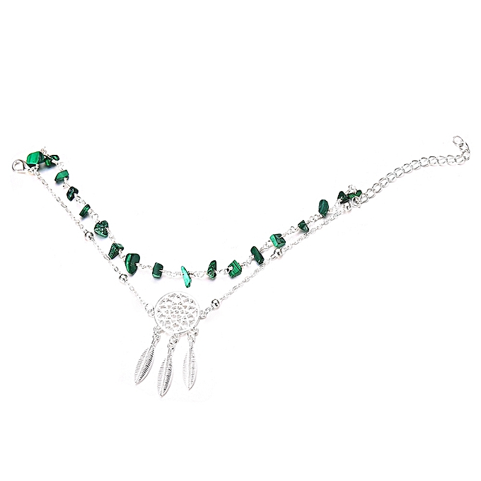 0741a1b3411 Generic Hollow Dreamcatcher Irregular Turquoise Anklet Feather ...