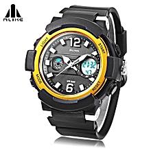 AK16122 Unisex Quartz Digital Watch LED Alarm Stopwatch Sport Watch-Golden-Golden