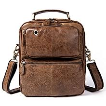 Men Retro Leather Handbag Shoulder Bag Business Casual Crossbody Bag