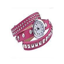 Fashion Rivet Leather Strap Bracelet Watch (Pink)