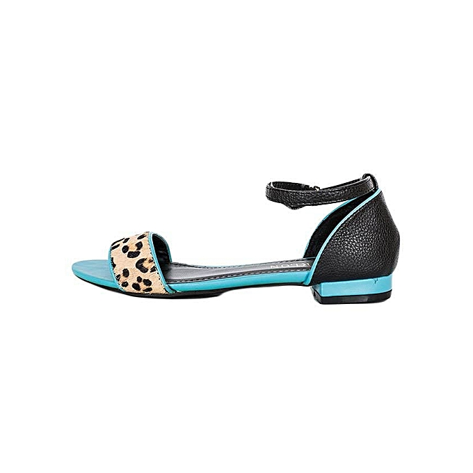cf6e5863689e MAKEOVER COLLECTION Blue Cheetah Print Sandals   Best Price