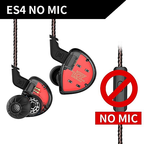 KZ ES4 In Ear Monitors Armature And Dynamic Hybrid Headset Ear Earphone Earbuds HiFi Bass Noise Cancelling Ear Hooks Headphones - Without Mic  XYX-S
