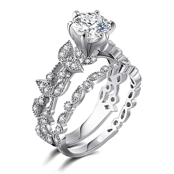Women Rhinestone Leaf Cubic Zirconia Rings Set Wedding Engagement Ring Jewelry 11
