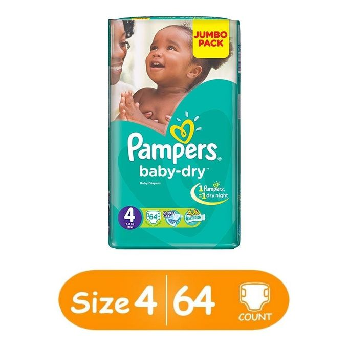 Baby Dry Diapers,Size 4, Jumbo Pack (Count 64)