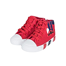 Red Rubber Shoes With Blue Stripes