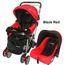 3 in 1 baby stroller set- Red & Black