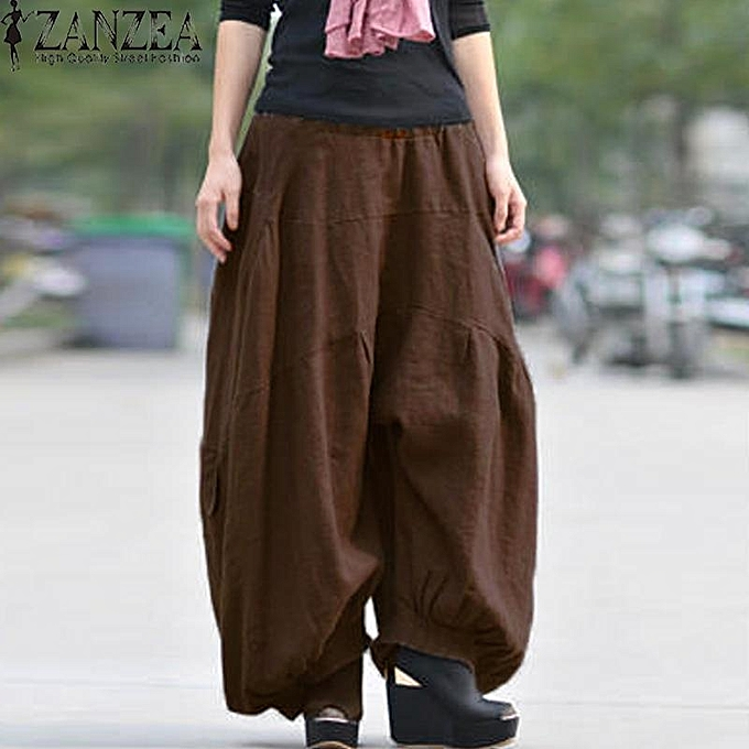 6e8f2c53 ZANZEA Solid Long Wide Leg Loose Baggy Cargo Pants Trousers Women Cotton  Linen High Elastic Waist