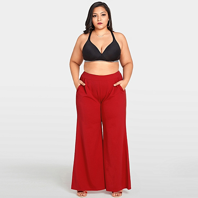 745f2cb6693 Women Plus Size Wide Leg Pants High Waist Casual Loose Trousers Pockets  Solid Flare Pants Red
