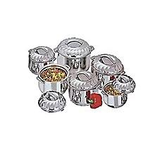 6 Piece Stainless Steel Hot Pots Set Casserole - Silver