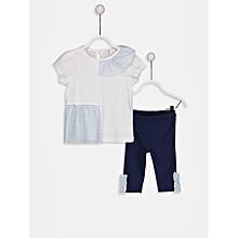 Girl White Body & Navy Legging Set