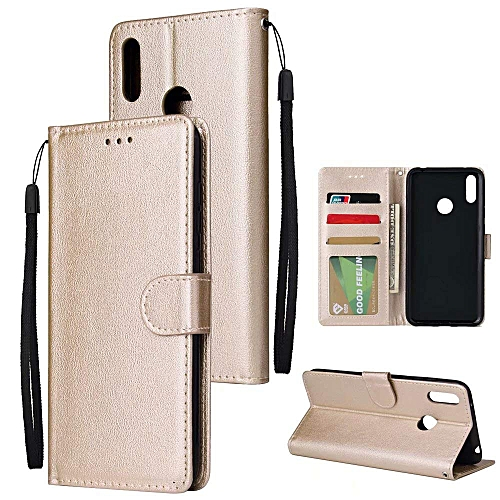 07fc63634d07 Case for Huawei Y7 2019, Luxury Flip Magnetic Wallet [3 Card Slots/Holder]  [Kickstand Feature] Shock Absorbing Premium PU Leather Flip Folio Wallet ...