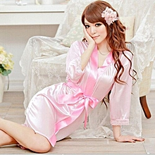 Women Sexy Lingerie Dress Cardigan Night Gown Bathrobes Sleepwear Nightwear With G-String Pink